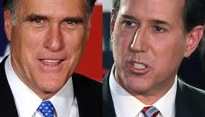 GOP candidates Mitt Romney and Rick Santorum